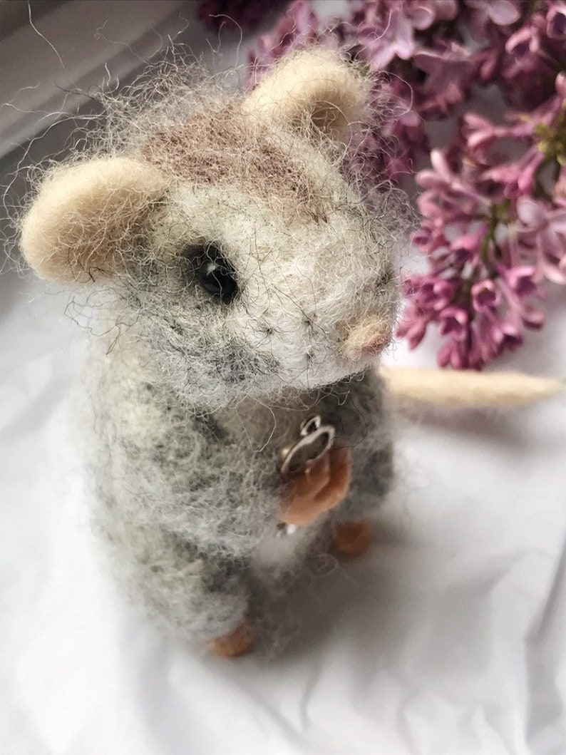 cute mouse toy Needle felted mouse mouse figurine staffed mouse gray mouse toy