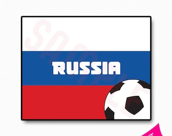 Russia Flag World Cup 2018 Party Printable Sign Template  2799924a6