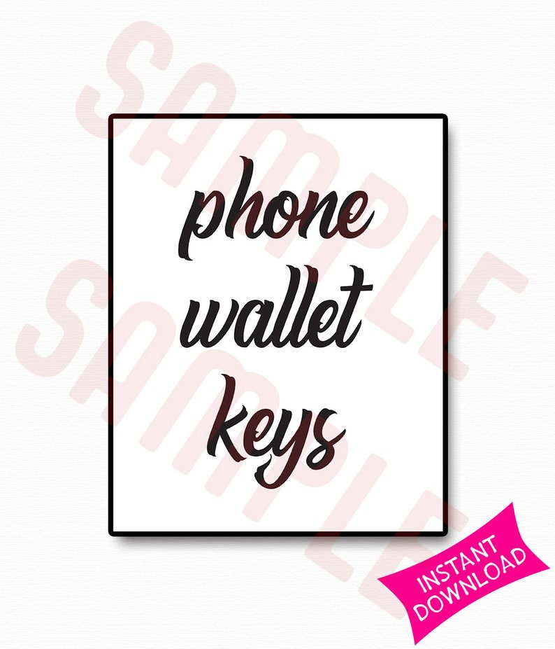 picture regarding Printable Keys titled Cellular phone Wallet Keys Printable Indicator Property Decor Wall Artwork Place of work Decor  In the direction of Do Checklist Signal Recall Signal