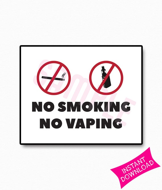 No Smoking No Vaping Printable Sign Etsy
