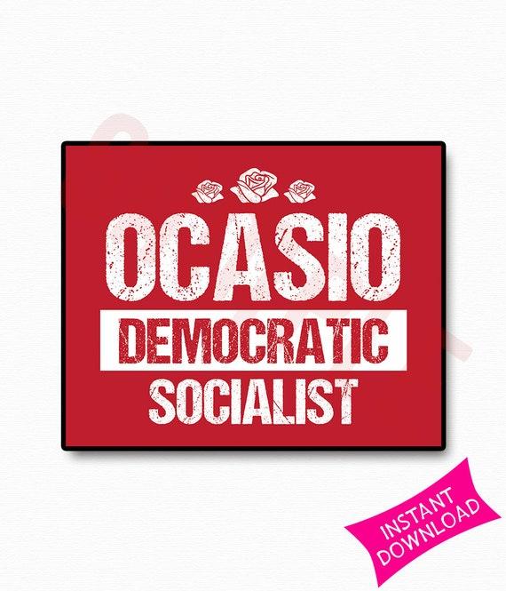 Ocasio Democratic Socialist Printable Sign Red Rose Symbol Etsy