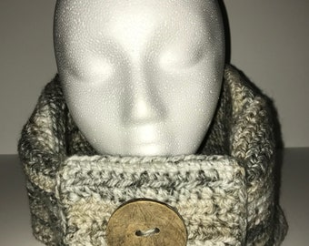 Crochet cowl with button, handmade cowl/scarf