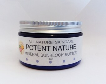 Mineral Sunblock Butter, Potent Nature, All Nature Skincare, zinc oxide mineral sunblock, skin nourishing, aromatherapeutically calming