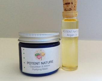 Cucumber & Willow Purifying Face Mask, Potent Nature, AllNature Skincare, Argan ant -acne oil, sebum balancing, anti-inflammatory, toning
