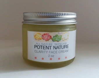 Clarity Face Cream, Potent Nature, All Nature Skincare, Face Food, face moisturizer, homemade skincare, co creative with nature intelligient