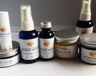 Home Face Care Kit Omega, Potent Nature, All Nature Skincare, Blemished Skin, Purifying Face Serum, Clarity Face Cream, Peppermint Toner