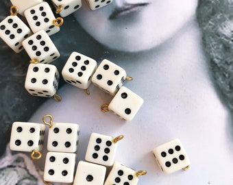 Vintage Resin  1960's Dice Charms Pendants Jewelry Supplies Arts Crafts 87VIN x4
