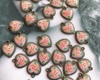 Vintage Small Metal Enamel Floral Rose Heart  Charms Pendants Jewelry Supplies Arts Crafts 88VIN x4