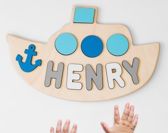 Personalized Name Puzzle for Baby Boy with Pegs Toddler Puzzle Wooden Toys 1st First Birthday Gift Idea for Boy Baby Shower New Baby Gift