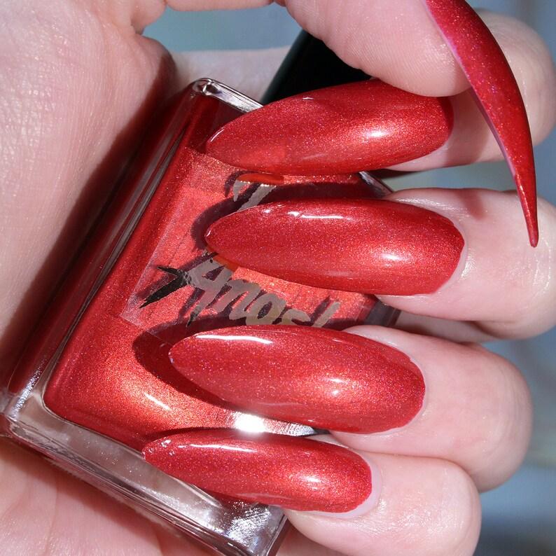 Cherry Bomb - cherry red holographic nail polish vegan