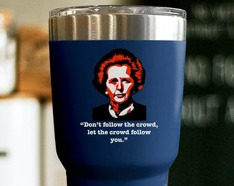 MARGARET THATCHER HISTORY buff Prime Minister Uk 20 oz tumbler, Conservative British history gifts United kingdom insulated tumbler