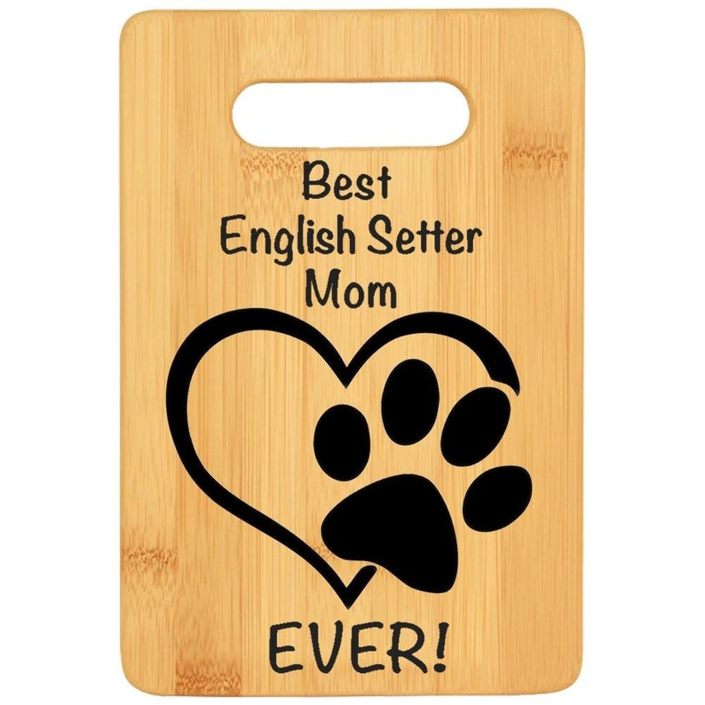 Bamboo custom cutting board rescue dog loss gift Dog lover gift chef gift for dog mama ENGLISH SETTER DOG mom gift for women Godmother