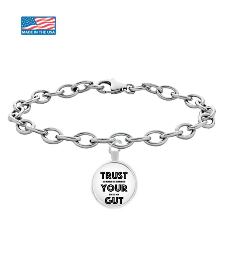 Trust your gut Girl boss day daughter graduation silver plated chain BOSS LADY CLIENT gifts silver chain uv resin jewlery custom bracelet
