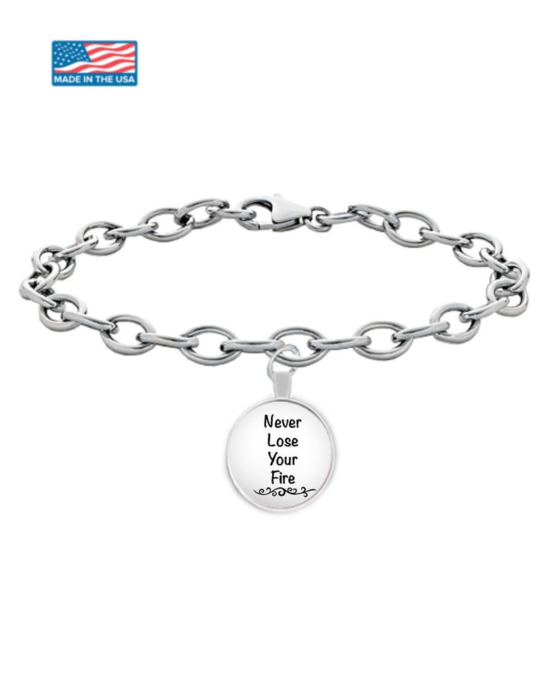 BOSS LADY CLIENT gifts silver chain uv resin jewlery custom bracelet Never lose fire Girl boss day daughter graduation silver plated chain