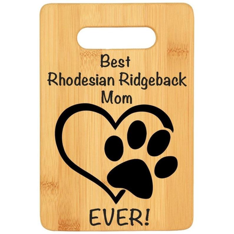 Dog lover gift maple chef gift for dog mama Bamboo custom cutting board rescue dog loss gift RHODESIAN RIDGEBACK DOG mom gift for women