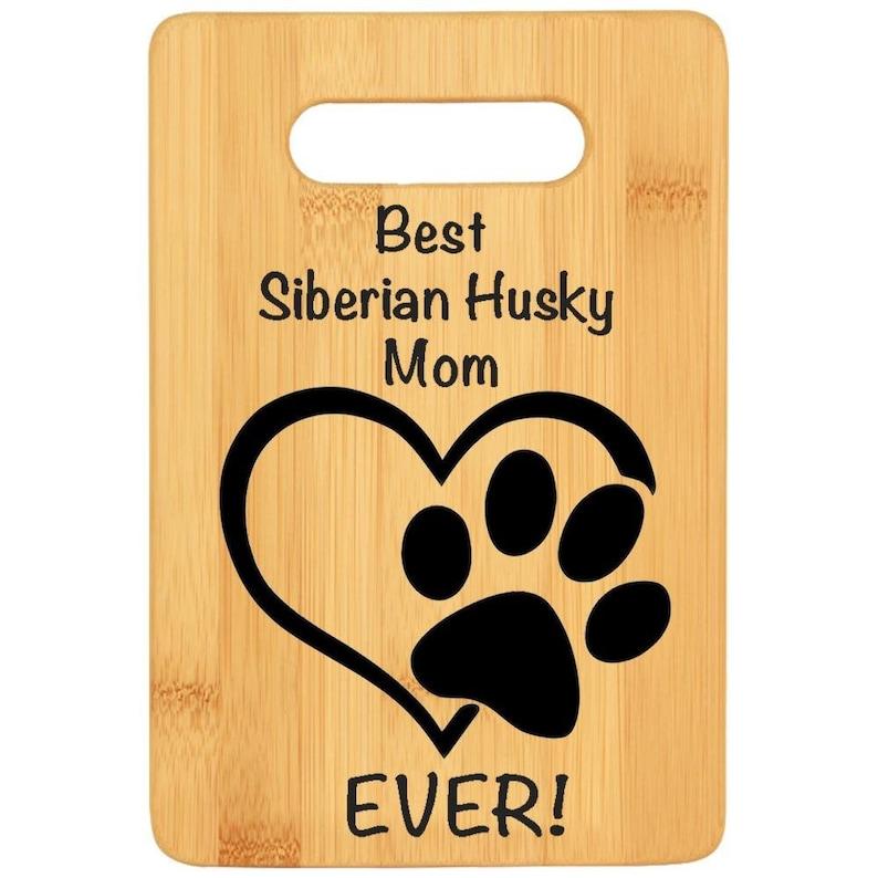 SIBERIAN HUSKY DOG mom gift for women Godmother Dog lover gift chef gift for dog mama Bamboo custom cutting board rescue dog loss gift