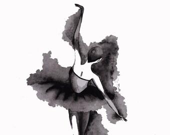 Black grey and white Ballerina Print