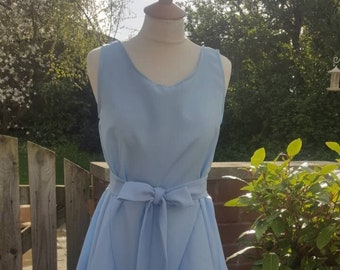 Handmade ruched Alice dress in baby blue
