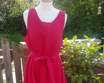 Handmade ruched Alice dress in cerise pink