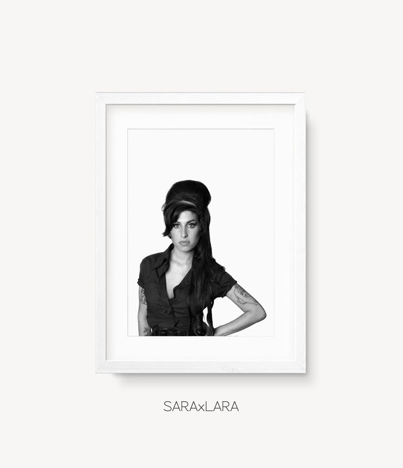 Amy Winehouse Print Amy Winehouse Poster Black And White Etsy