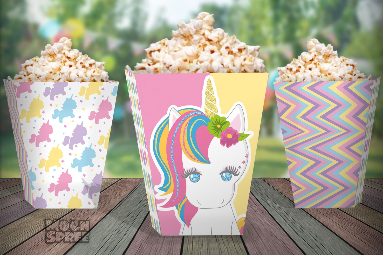 Printable Unicorn Party Popcorn Boxes