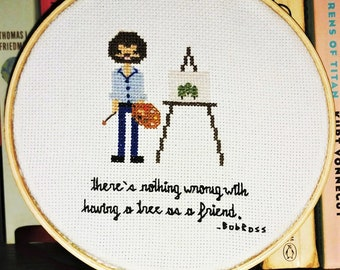 Bob Ross Tree Cross Stitch
