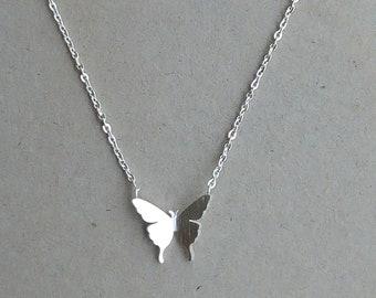 Silver Butterfly Necklace, Minimalist Necklace, Butterfly Jewelry, Simple Everyday Jewelry, Butterfly Wings Necklace, Minimalist Jewelry