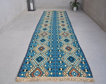 Kilim Runner, Bohemian bright colored rug, Oriental Geometric patterns Turquoise runner, 2.3' x 8.7' (68cm x 262cm)