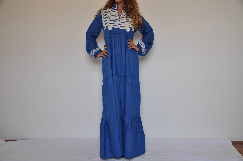 783d964ff1 Long sleeve Gypsy Maxi dress, Vintage style Maid's dress, Egyptian cotton.  Gala, Elegant, Summer, Waist strap, Gypsy dress.