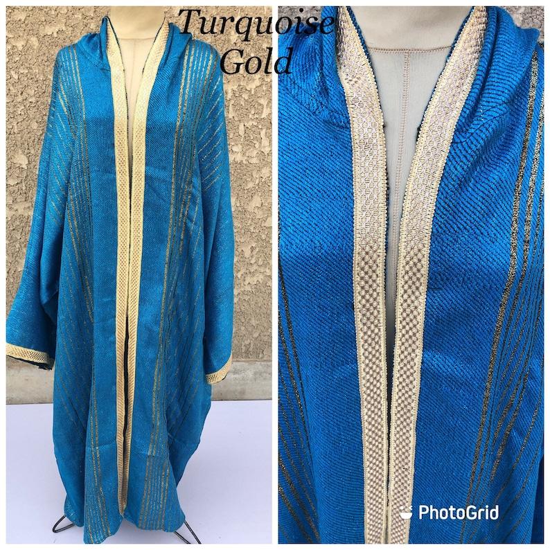Plus size Kimono jacket Stunning Arabic hand loomed hooded Kimono with hand loomed gold threads Winter kimono jacket Hooded Kimono