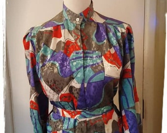 80's Purple Red Green and Grey Patterned Blouse. Size 12.