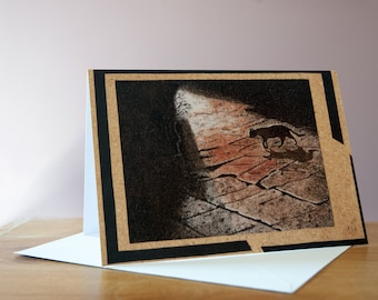 """Greeting card, Reproduction of the sand painting """"Cat in the street"""""""