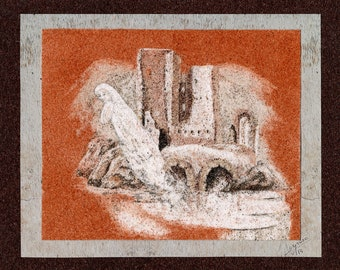 Natural sand painting 18x24 cm The ghost of the castle