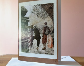"""Greeting card, Reproduction of the sand painting """"Ladies with dog going hiking"""""""