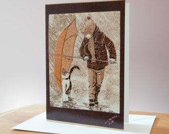 """Greeting card, Reproduction of the sand painting """"The kid and her cat, rainy day"""""""