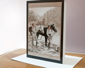 """Greeting card, Reproduction of the sand painting """"Couple walking horses side by side"""""""