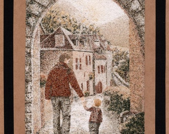 Natural sand painting 24x18 cm Father and son walking
