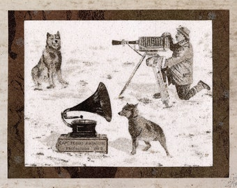 Natural sand painting 18x24 cm Dog Chris lListening to gramophone with Captain Scott in Antarctica
