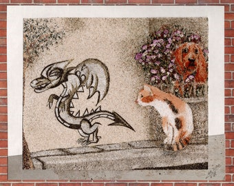 Natural sand painting and dried flowers 18x24 cm A dragon tag in Sicily with a cat and a scared dog