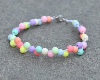 Rainbow Acrylic Bead Bracelet