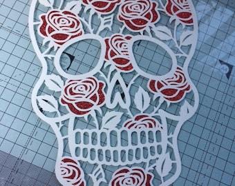Sugar skull and roses papercut