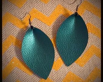 Shimmering Teal Leaf Earrings