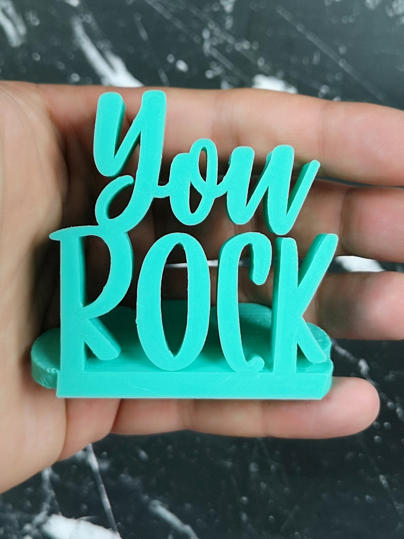Office Decor Inspirational Gift Small Desk Sign You Rock Desk Sign Custom Letters Home Office 3D Printed Sign Motivational Name Plate