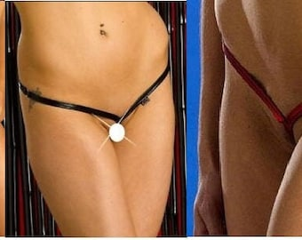 Ladies Metallic Barely There G-string Thong Knickers Lingerie Size 8 Red, Black, Silver or Gold