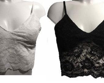 Floral Lace Crop Top Bralet Bralette Bra No Padding Slip On Lingerie Semi Sheer