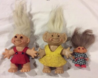 Vintage Trolls - Thomas Dam, Wish Nik, Uneeda Lot of 3