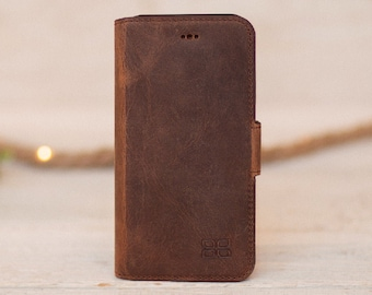 Iphone XS Phone case Genuine Leather Wallet case Bookcase for iphone xs Brown worn leather Personalized gifts
