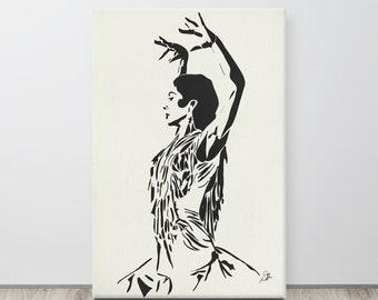 Flamenco Dancer, Large Canvas Print, Minimalist Dance Theme Artwork for Home Decor, Interior Room Staging