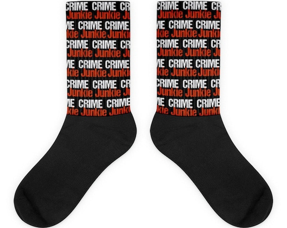 Crime Junkie Socks, True Crime Gifts for Crime Buffs, Horror Fanatics, Murderino Obsessed Fans