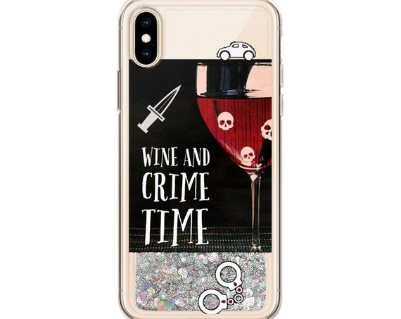 Wine Crime Time Glitter iPhone Case, True Crime Phone Cover for 7/8 X/XS XR, bff gifts Kenda Junkies